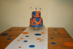 My first fondant cake for Cole's first birthday.  Wires with polka dots spring out of the top.