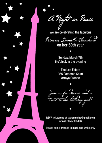 Paris themed invitation we threw a paris themed birthday party for our friend who turned 50 this spring she had hoped to go to paris for her birthday but finances did not allow filmwisefo